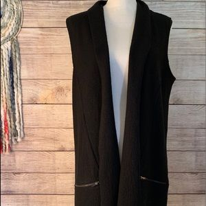 Tahari Sleeveless Tunic Cardigan Black